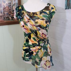 Deletta anthropologie draped floral blouse XS